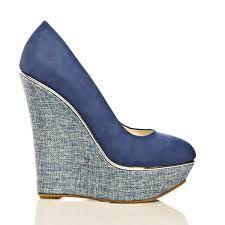2017 - Şık Mavi Dolgu topuk ayakkabı modelleri