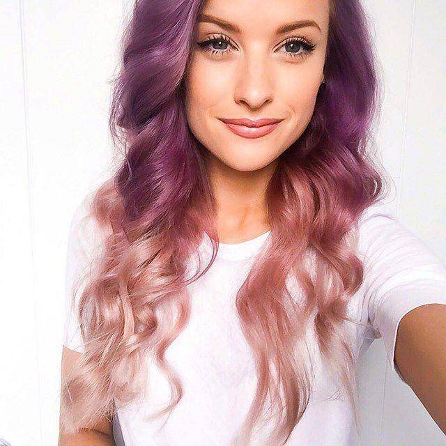 2020 En Güzel Saç Renkleri ve Saç Modelleri Mor Uzun Uçları Açık Pudra Dalgalı Saç