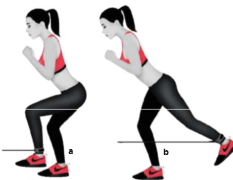 Kablo makinesine yüzünü dön ve sol ayak bileğine makinenin bandını tak(gerekirse hafif bir direnç bandıda kullanabilirsin.)Sol dizini vücudunun önüne kaldır,sağ dizini hafifçe bük(a).Kalçanı sık,sol topuğuna baskı yaparak bacağını düz oluncaya kadar vücudunun arkasında uzat(b).Başlangıç pozisyonuna dön ve taraf değiştirmeden önce tüm tekrarları tamamla. TEKRAR: 15/15/15