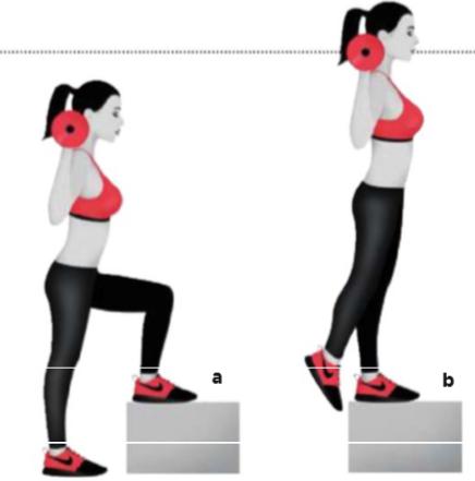 Barı omuzlarının üzerine koy ve bankın ya da step tahtasının önünde ayakta dur.Karın kaslarını sıkı tutarak sol ayağını bankın üzerine koy(a).Topuğundan güç alarak kendini yukarı it (b).Başlangıç pozisyonuna dönmek için geriye adım at.Tüm tekrarları tamamla,ardından bacak değiştir. TEKRAR: 10/10/10
