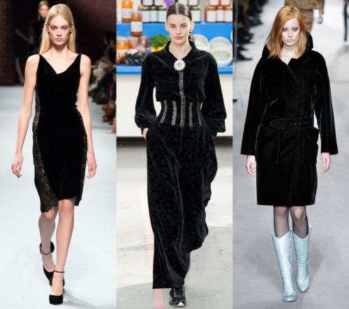 KADİFE GİYSİ MODASI Kışın vazgeçilmez kumaşı kadife, tasarımcıların farklı yorumlarıyla podyumdaydı. Kadife elbiseler, kabanlar ve tulumlar defilelerde dikkat çekerken, 2015-2016 sonbahar/kış sokak stillerinde de hemen yerini alacak.