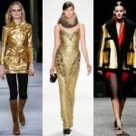 METALİK ALTIN GİYSİ MODASI Bayanların altın rengine olan aşkı büyüyor! Gece ve gündüz kullanılabilecek metalik etkili altın sarısı kıyafetler, iddiayı seven bayanlar için tasarlanmış adeta.