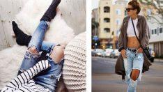 2019 Yırtık Kot Kombinleri, Sokak Modası Jean Pantolon Modelleri