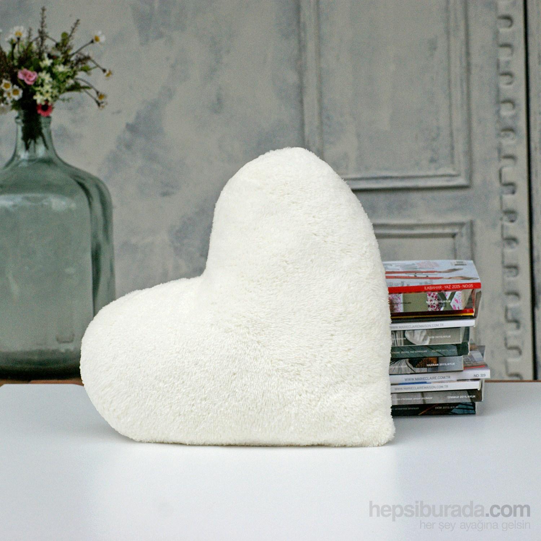 İkikız Krem Kalp Cozy Yastık