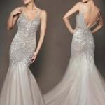2020 Nişan Elbiseleri Gümüş Uzun Balık Askılı Taşlı