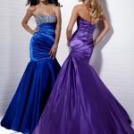 Fosforlu straplez nişan elbisesi