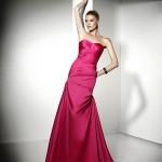 2020 Nişan Elbiseleri Pembe Uzun Saten Straplez
