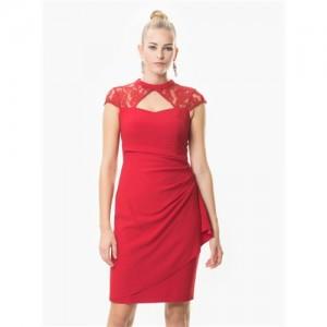 Roman Kırmızı Dantel Detaylı Abiye Elbise