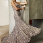 2020 Nişan Elbiseleri Kahverengi Uzun Straplez Taşlı