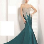 2020 Nişan Elbiseleri Yeşil Uzun Straplez Kalp Yaka Taşlı