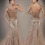 2020 Nişan Elbiseleri Kahverengi Uzun Balık Askılı Taşlı