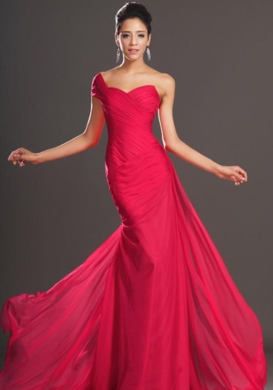 kirmizi_abiye_modelleri - Tek omuzlu pembe nişan elbisesi