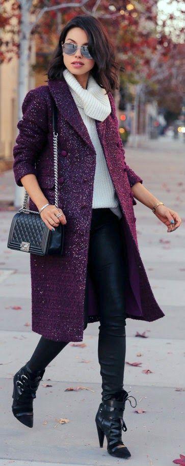 mor2-Bu Kışın Palto ve  Kaban Kombinleri