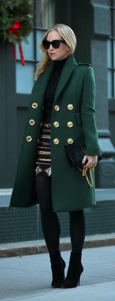 yeşil2-Bu Kışın Palto ve  Kaban Kombinleri