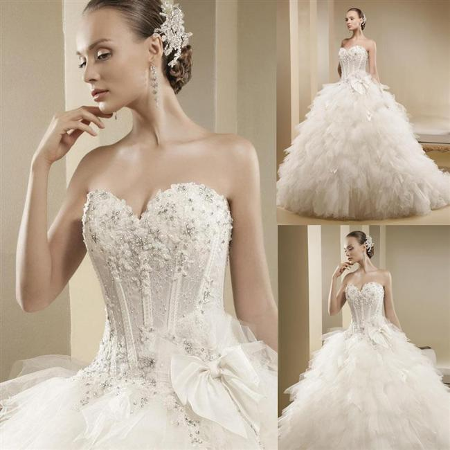 Straplez Prenses Gelinlik Modelleri - Best Strapless Wedding Dresses (42)