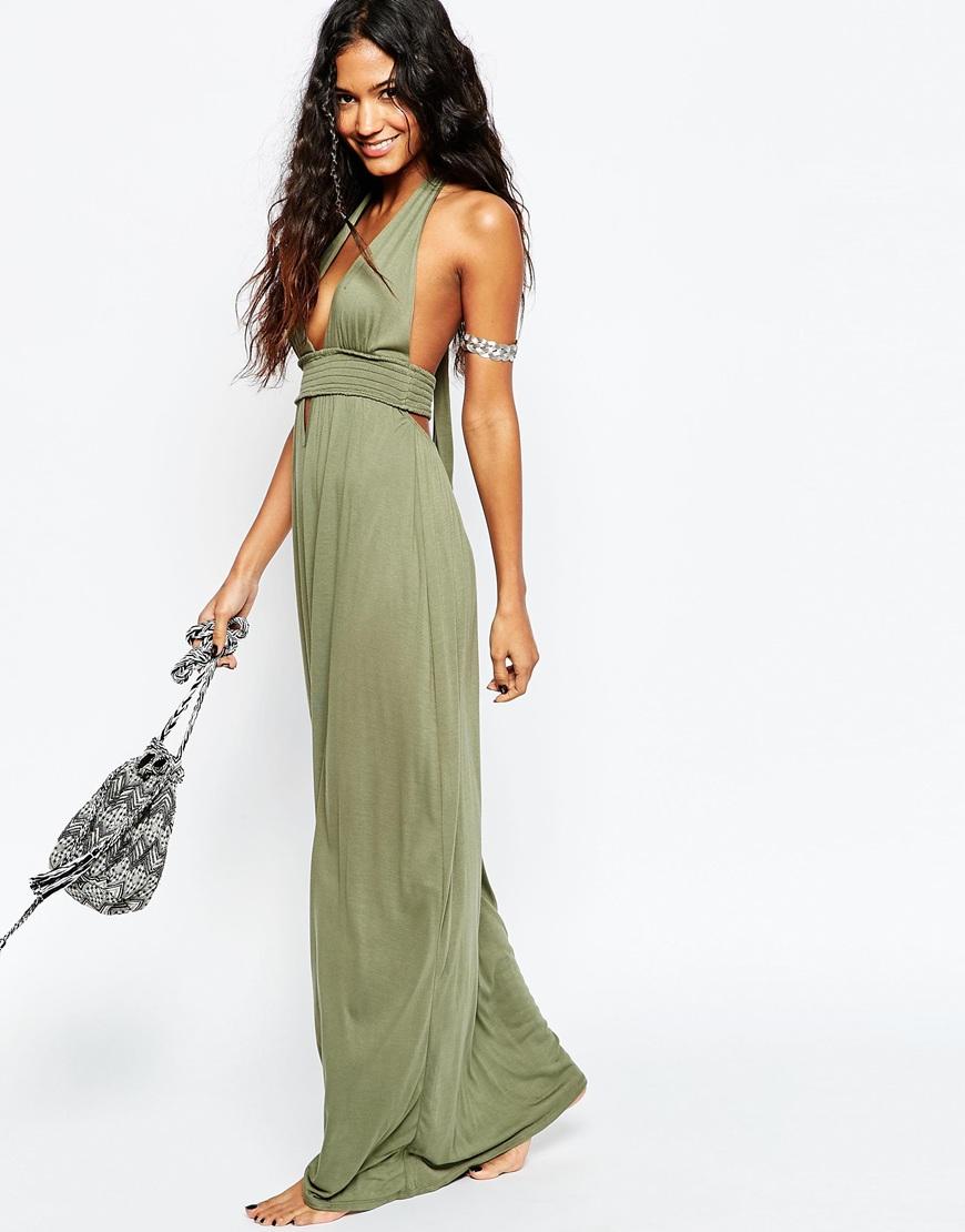 Uzun Dekolte Yeşil Abiye Modelleri 2018