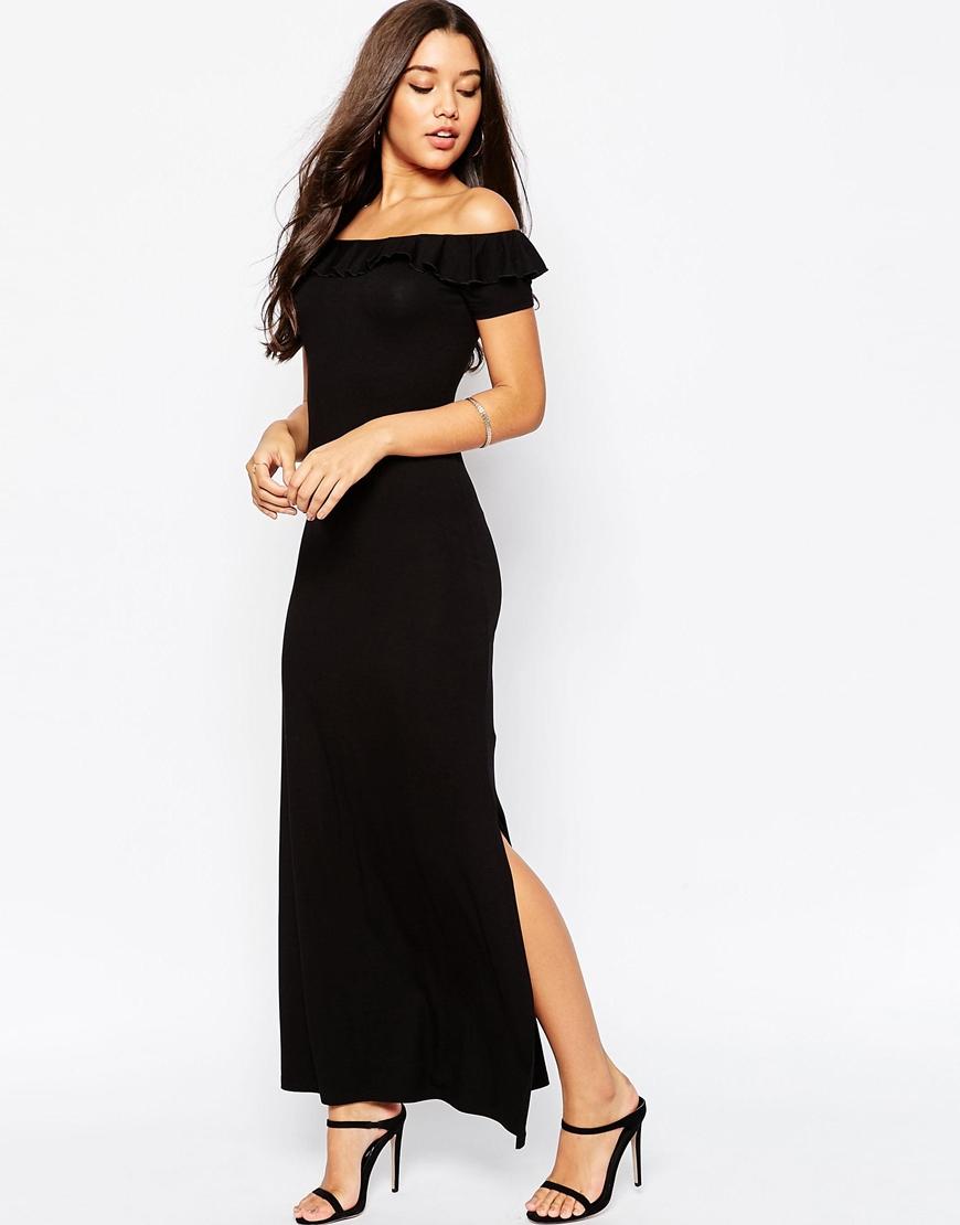 Omzu Açık Siyah Abiye Elbise Modelleri 2018