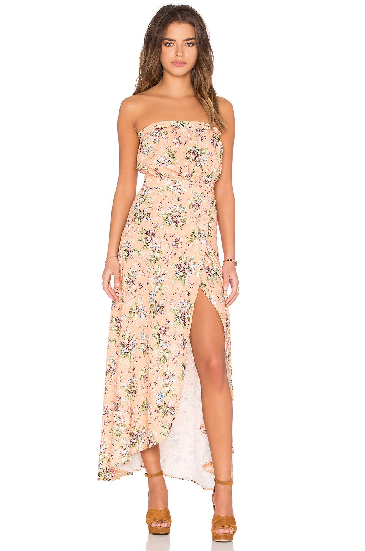 Çiçekli Pudra Uzun Elbise Modelleri