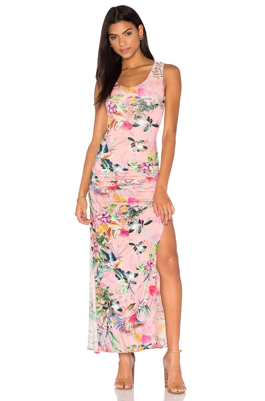 e2e9aa49cd22b En Şık Uzun Elbise Modelleri – Gece Elbiseleri 2019 Pembe Kolsuz Çiçek  Desenli