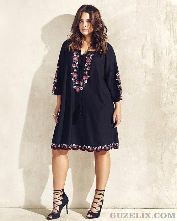 2016  Yazlık Büyük Beden Elbise Modelleri (1)
