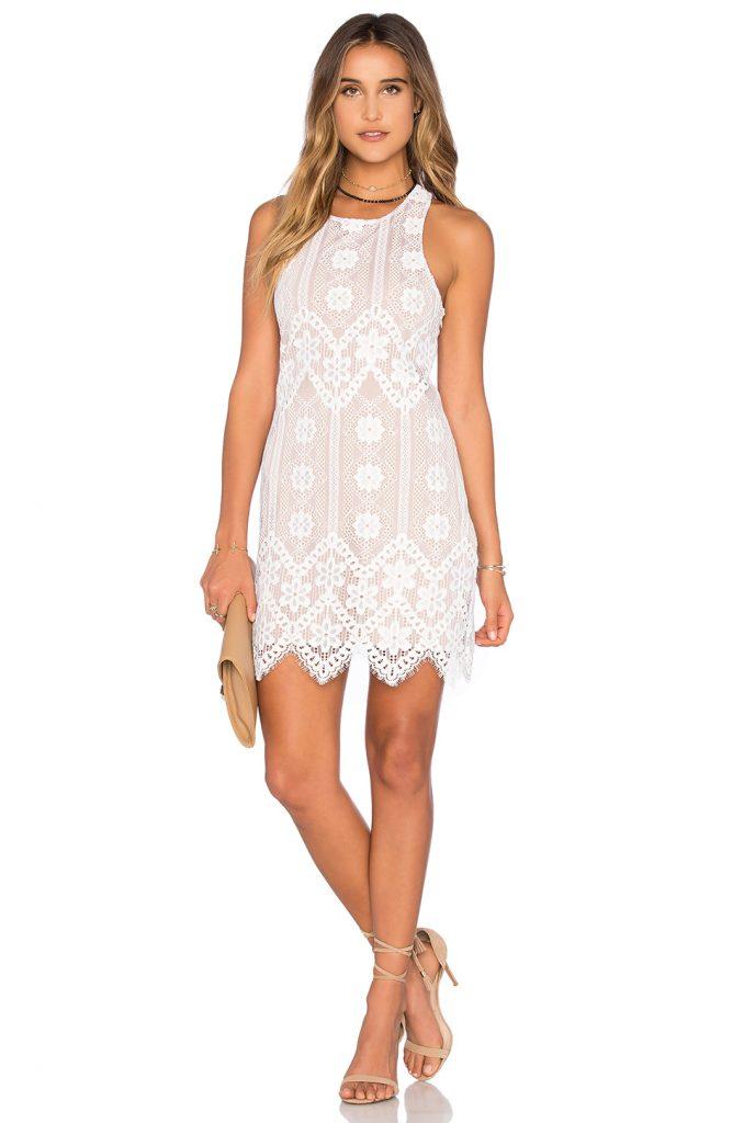 Beyaz Kısa Dantel Abiye Elbise Modelleri 2017 2018