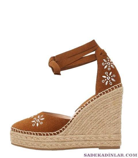 Dolgu Topuk Ayakkabı Modelleri Deri Mango_esparto