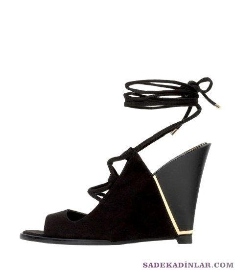 Dolgu Topuk Ayakkabı Modelleri - Zara Bagcıklı Deri 119$