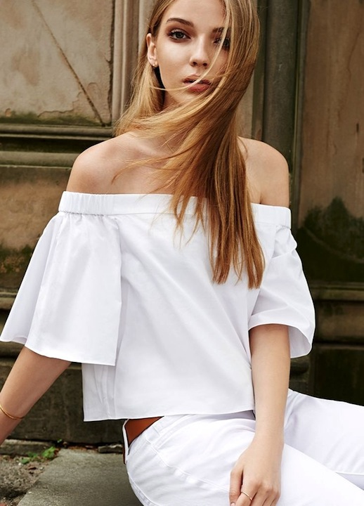 En Şık Omuz Açık Bluz ve Elbise Modelleri - White-Off-The-Shoulder-Top-Dress