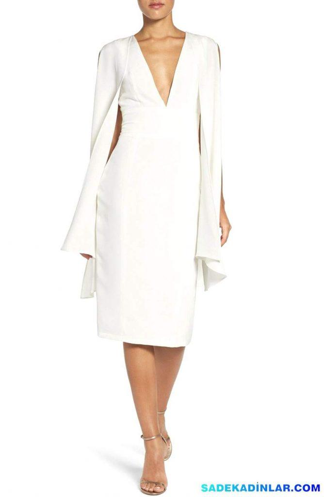 En Dikkat Çeken 2018 Abiye Modelleri ve Gece Elbiseleri - Caped Silk Midi Dress