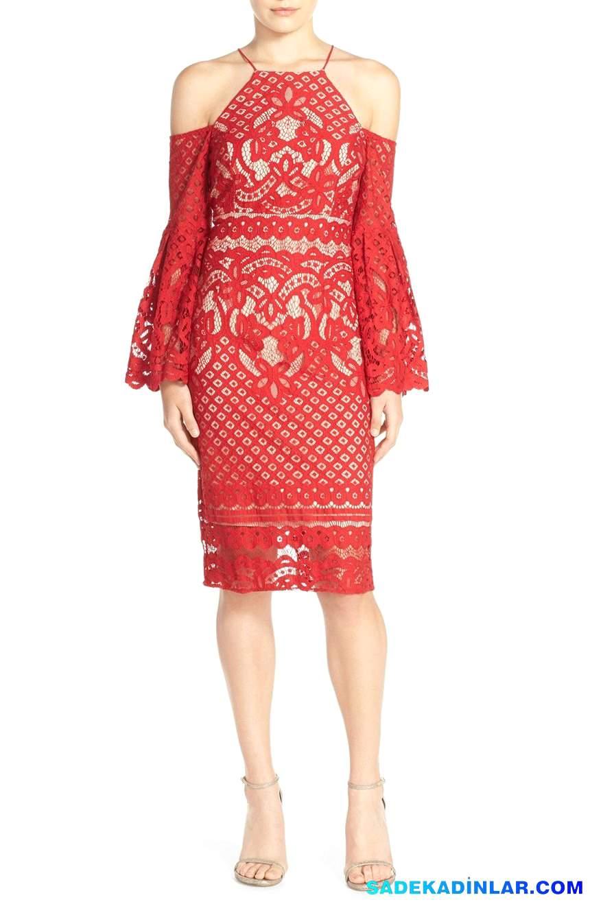 2018 Abiye Modelleri ve Gece Elbiseleri En Dikkat Çeken Modeller - Cold-Shoulder-Lace-Midi-Dress