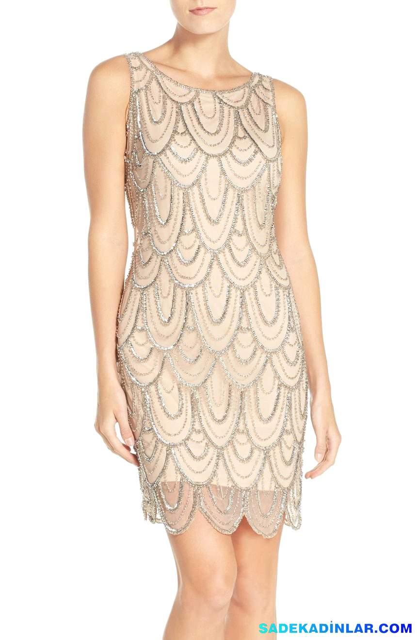 En Dikkat Çeken 2020 Abiye Modelleri ve Gece Elbiseleri - Embellished-Mesh-Sheath-Dress-Regular-Petite
