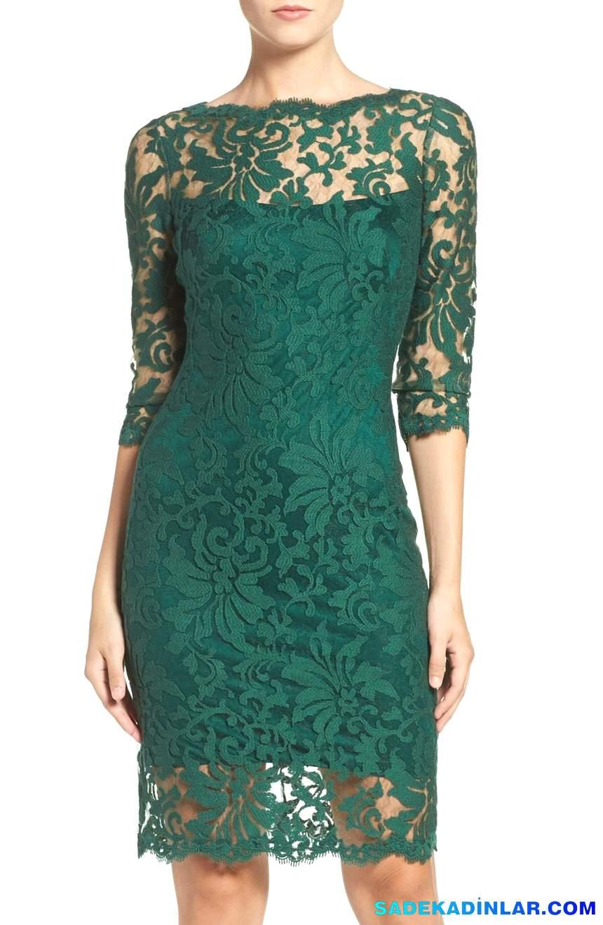 2018 Abiye Modelleri ve Gece Elbiseleri En Dikkat Çeken Modeller - Embroidered-Lace-Sheath-Dress