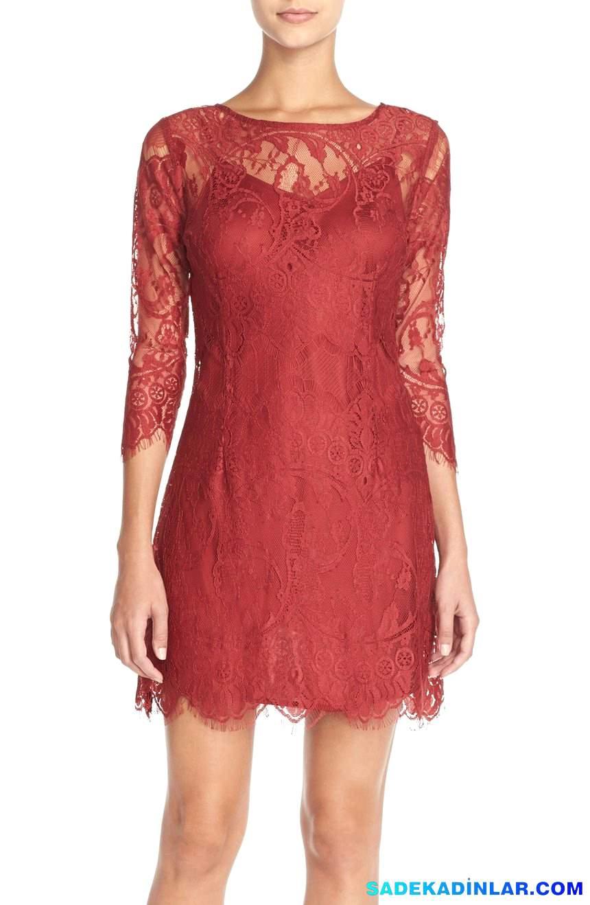 En Dikkat Çeken 2020 Abiye Modelleri ve Gece Elbiseleri - Lace-Sheath-Dress