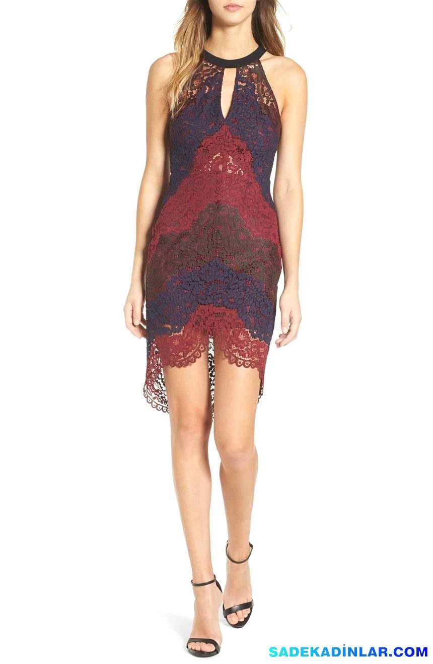 En Dikkat Çeken 2018 Abiye Modelleri ve Gece Elbiseleri - Lace-Halter-Dress