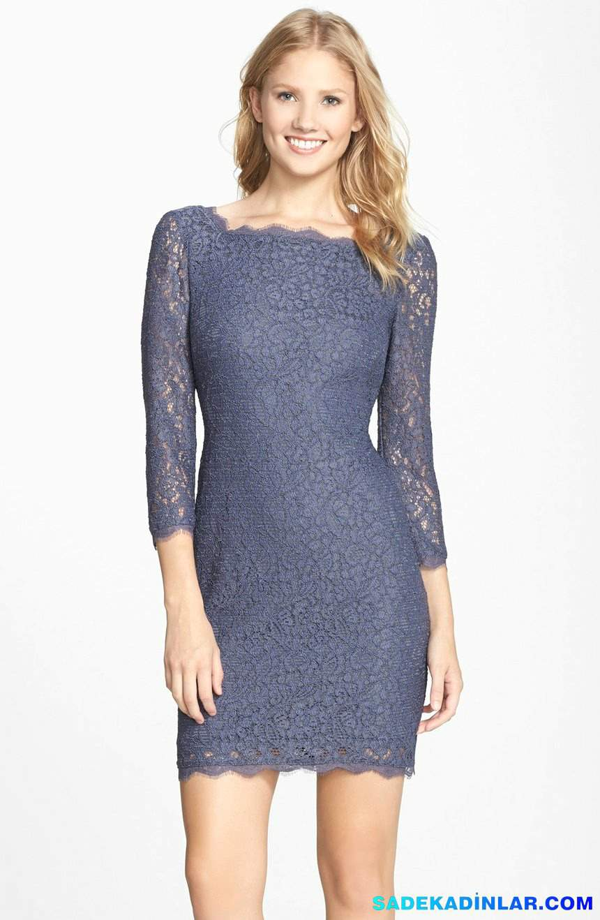 2020 Gece Elbiseleri Ve Abiye Modelleri - Lace-Overlay-Sheath-Dress-Regular-Petite