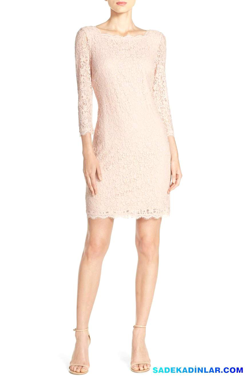 2020 Gece Elbiseleri Ve Abiye Modelleri - Lace-Overlay-Sheath-Dress-Regular-Petite