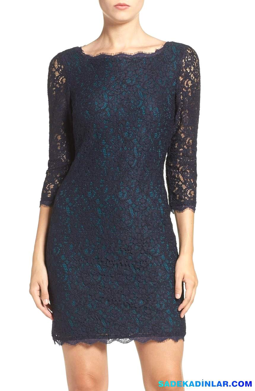 2018 Gece Elbiseleri Ve Abiye Modelleri - Lace-Overlay-Sheath-Dress-Regular-Petite