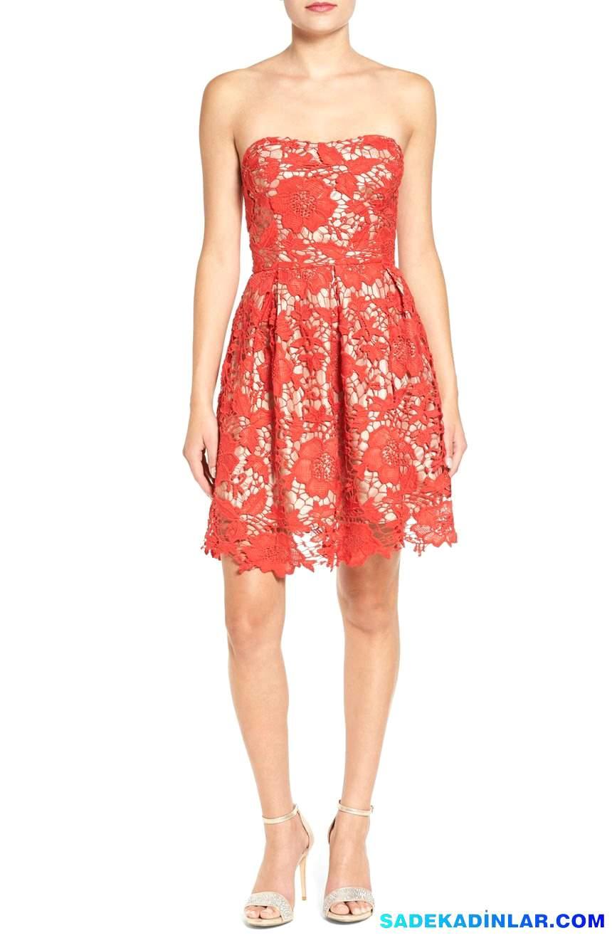 2020 Gece Elbiseleri Ve Abiye Modelleri - Lace-Strapless-Fit-Flare-Dress