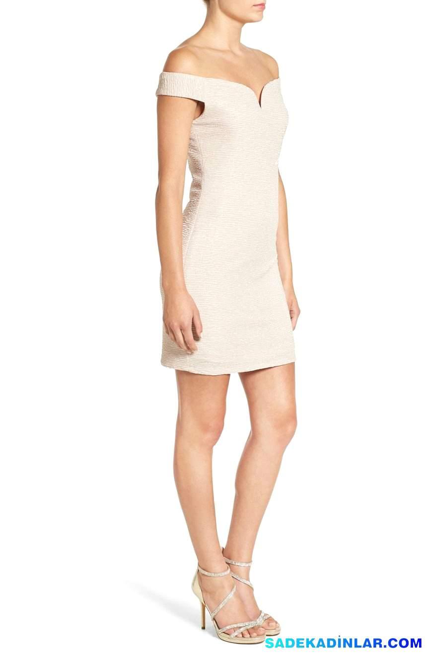 2020 Gece Elbiseleri Ve Abiye Modelleri - Off-the-Shoulder-Glitter-Body-Con-Dress
