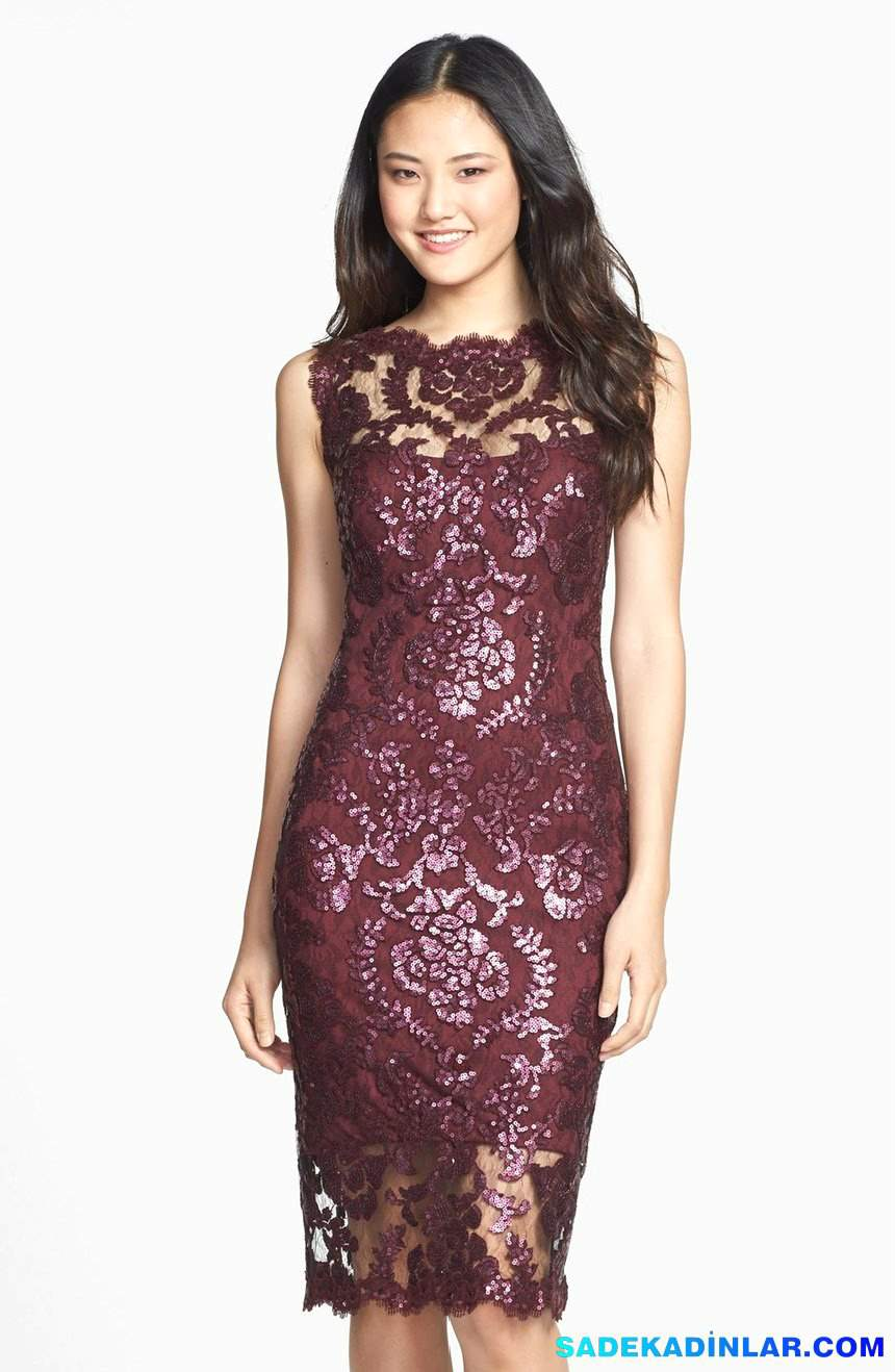 2018 Gece Elbiseleri Ve Abiye Modelleri - Sequin-Illusion-Lace-Dress-Regular-Petite