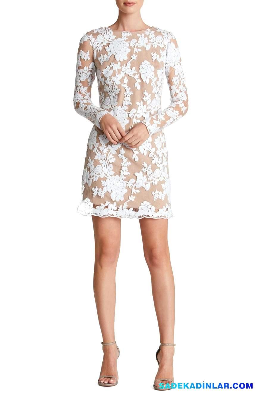 2018 Gece Elbiseleri Ve Abiye Modelleri - Sequin-Lace-Long-Sleeve-Shift-Dress