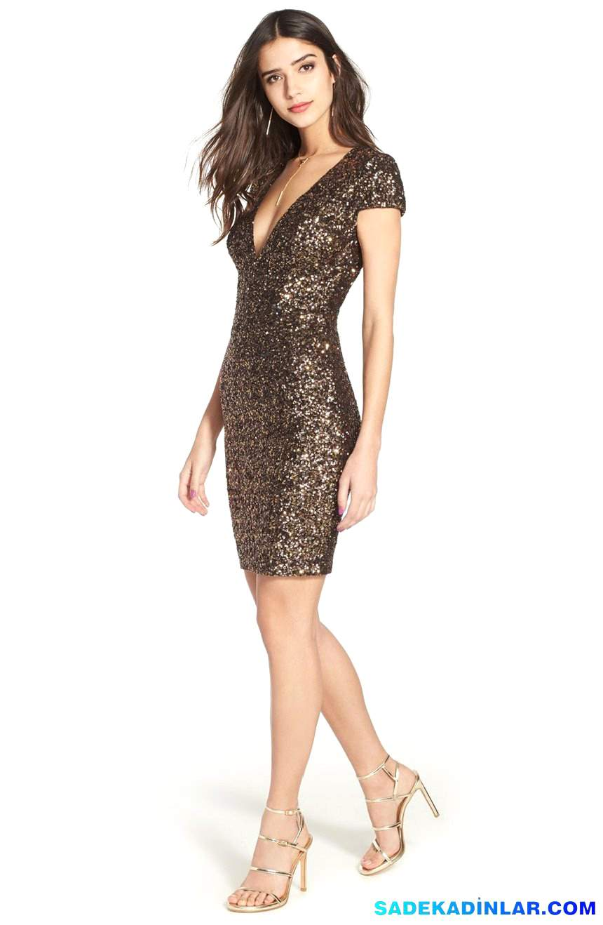 2018 Gece Elbiseleri Ve Abiye Modelleri - Sequin-V-Neck-Body-Con-Dress