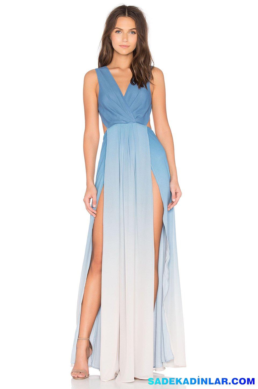 2019 Abiye Elbise Kombinleri; İki Renk Derin Yırtmaçlı Muhteşem