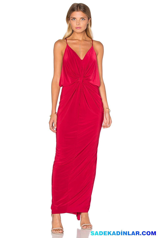 2019 Abiye Elbise Kombinleri; Kırmızı Drapeli Göğüs Dekolteli