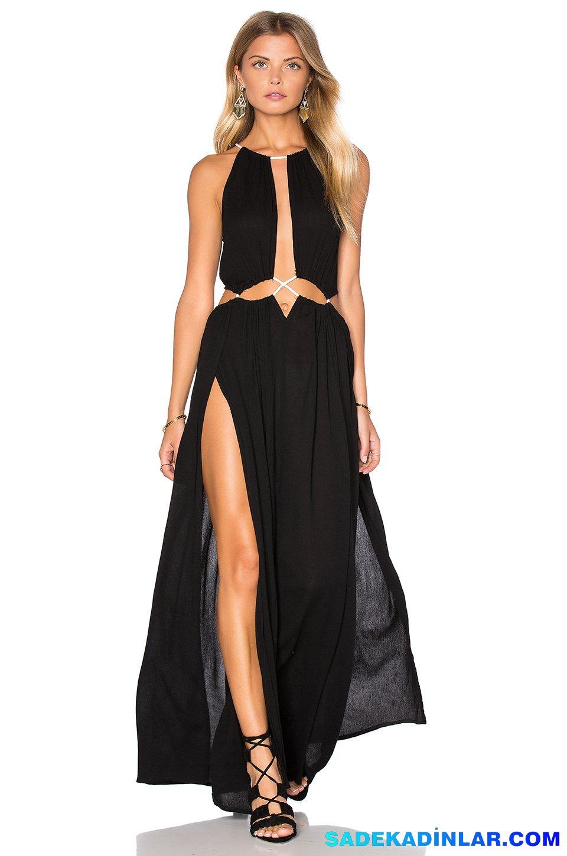 2019 Abiye Elbise Kombinleri; Siyah Derin Yırtmaçlı Göbek Dekolteli