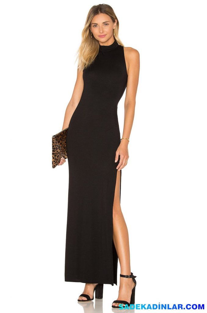 2019 Abiye Elbise Kombinleri; Siyah Uzun Halter Yaka Yandan Yırtmaçlı