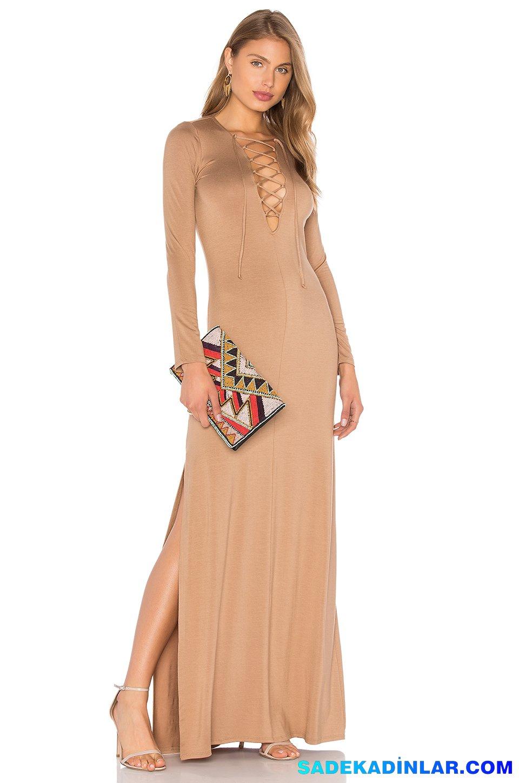 239d5057c6955 2019 Abiye Elbise Kombinleri; Uzun Kol Parlak İp Detaylı Dekolteli Elbise