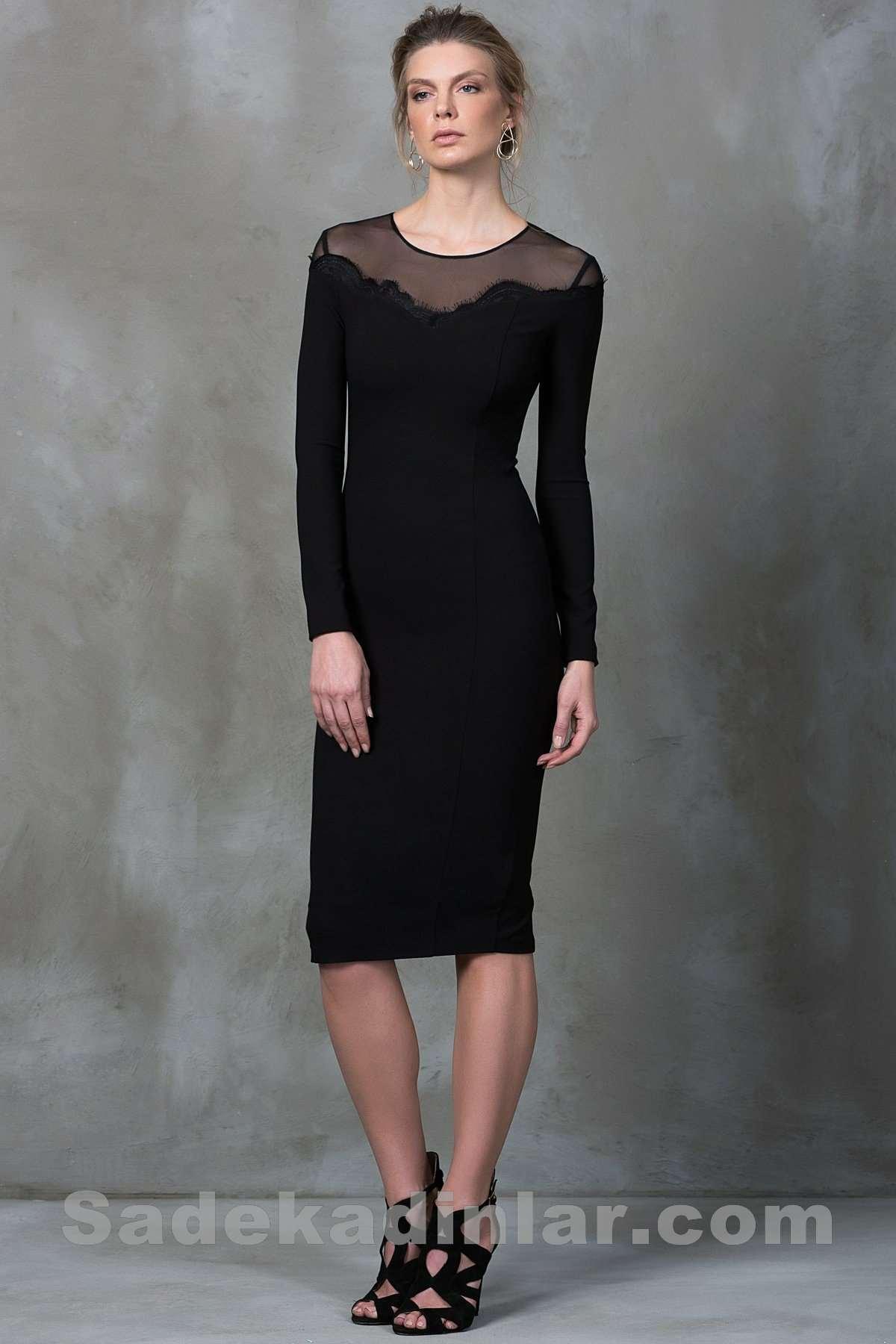 1b2f7c1849abd Dantel Detaylı Dizaltı Siyah Elbise Modelleri | SadeKadınlar ...