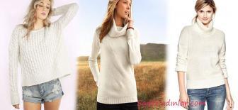 Kış Modası Kombinleri İçin Şık Krem ve Beyaz Kazak Modelleri