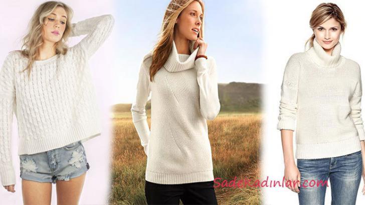 2019 Kış Modası Kombinleri Krem ve Beyaz Kazak Modelleri